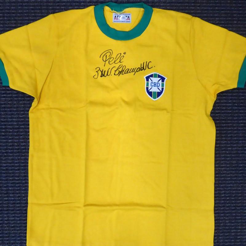 Pelé Hand Signed CBD Brazil Jersey