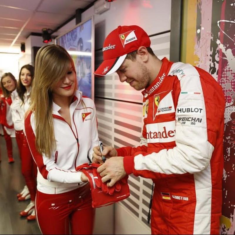Vettel Ferrari 2015 Worn and Signed Puma Gloves