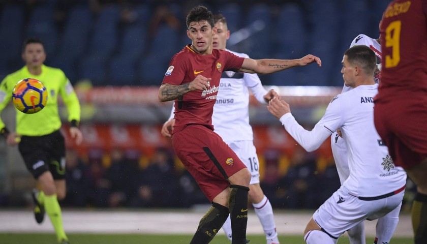 Perotti's Match-Worn Roma-Cagliari Shirt, Special Sponsor Telethon