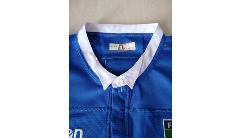 Italy Rugby Match Shirt, 2019 - Signed by the Six Nations 2020 Squad
