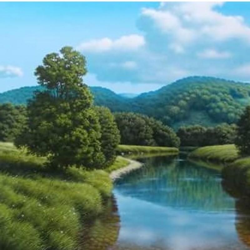 """Lungo il fiume"" - acrylic on wood panel by M. Di Nieri -  35x50 cm"