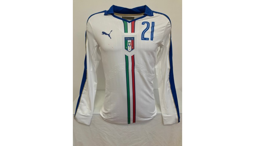 Pirlo's Italy Match Shirt, 2015/16 - Signed by Pirlo and Verratti