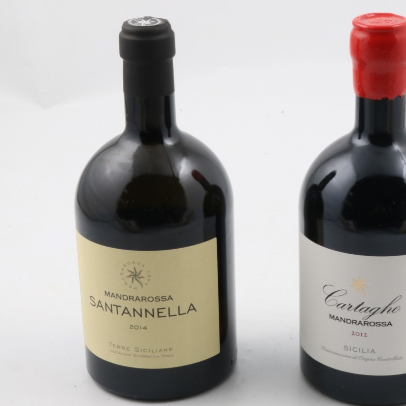 2 Magnum Mandrarossa (Fiano 70%, Chenin Blanc 30% + Nero d'Avola) offered by Cantine Settesoli, Sicily