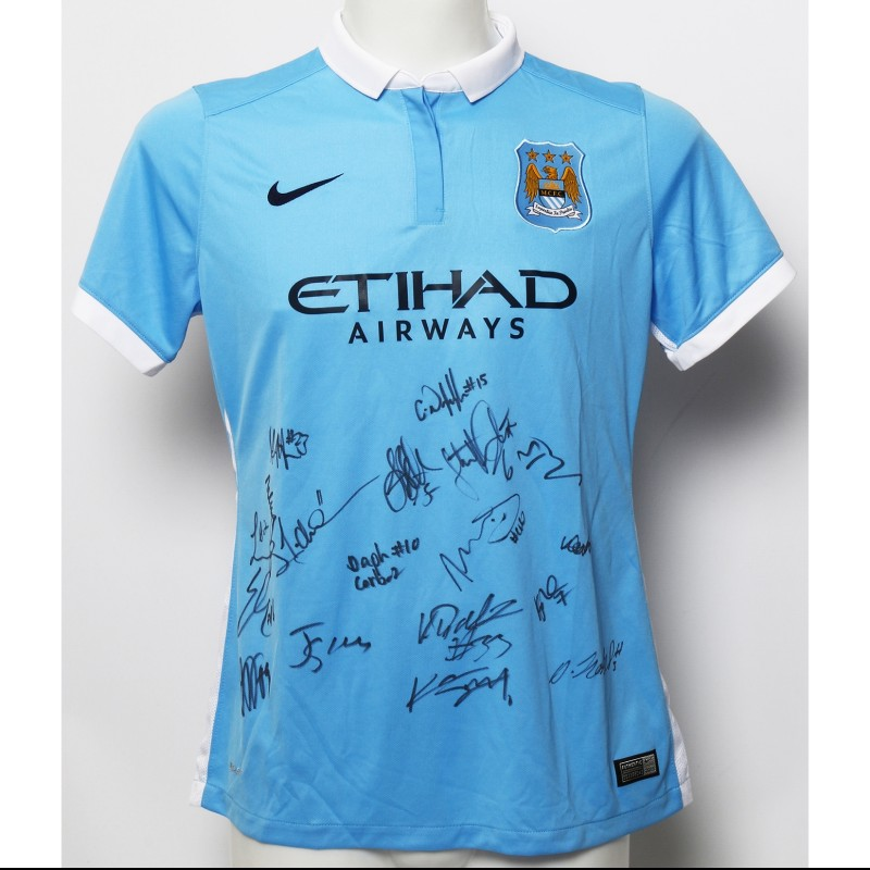 Manchester City FC Home Shirt Signed by the Women's Champions of 2014|15