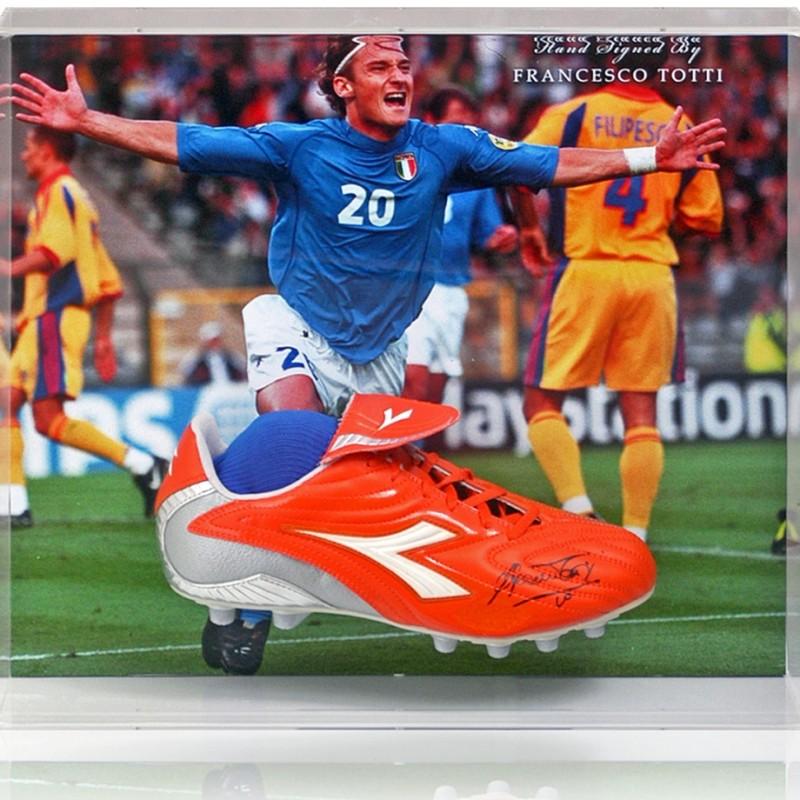 Francesco Totti Hand-Signed Italy Football Boot Presentation