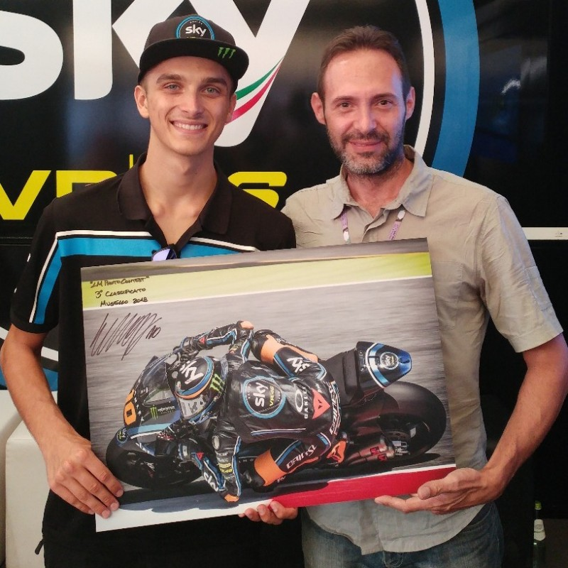 Photograph and Motorcycling Goggles Worn and Signed by Luca Marini