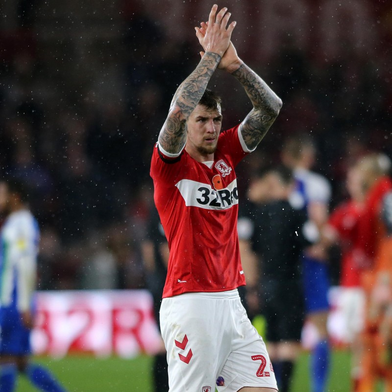 Aden Flint's Middlesbrough Worn and Signed Home Poppy Shirt
