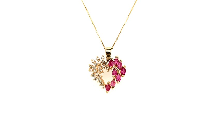 14KT Yellow Gold Ruby and Diamond Heart Necklace