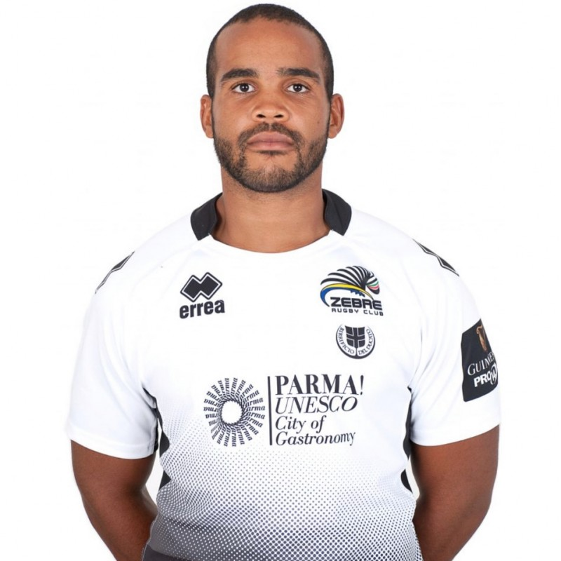 Mbanda's Zebre Rugby Worn and Signed Shirt, 2018