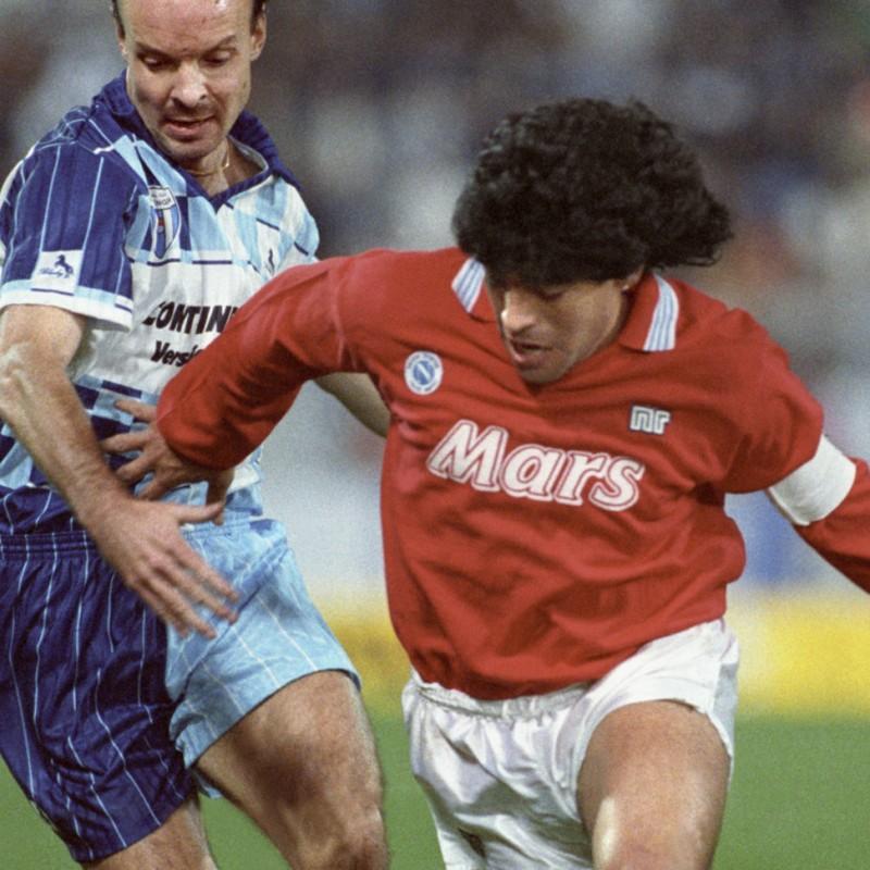 Maglia Maradona, preparata / indossata Wettingen-Napoli 1989