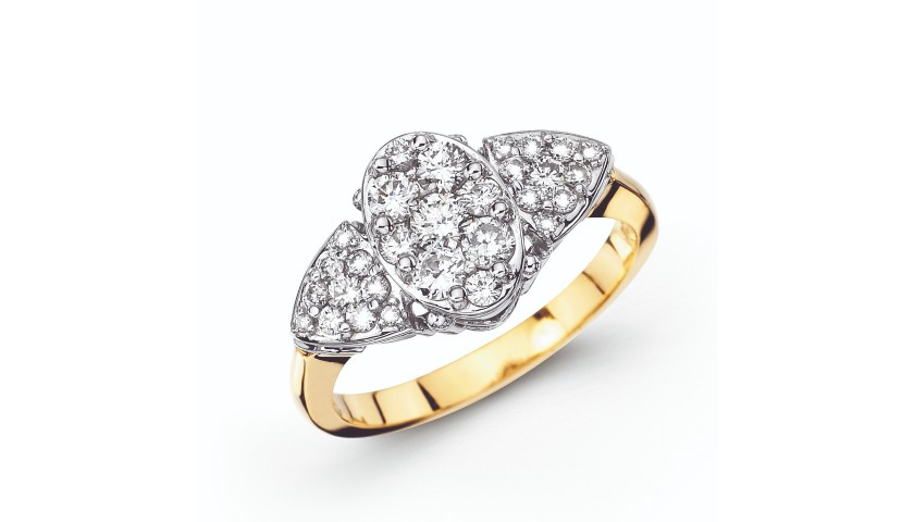 14KT Two-Tone 3/4 Carat Diamond Cluster Ring