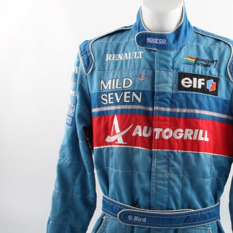 F1 Benetton Renault worn suit, 1996 Formula 1 season