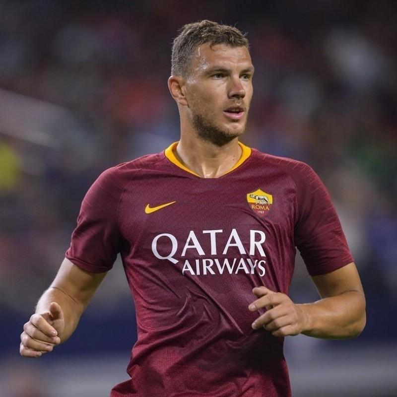 Dzeko's Roma Match-Issue Signed Shirt, 2018/19