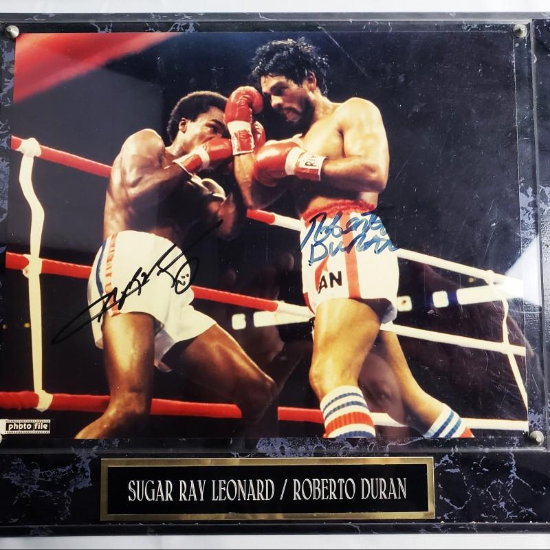 Sugar Ray Leonard & Roberto Duran Hand Signed Photo with Plaque