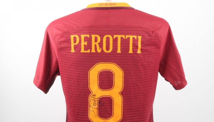 Diego Perotti Match Worn Shirt, Roma-Cagliari 22/01/17 - UNWASHED, signed
