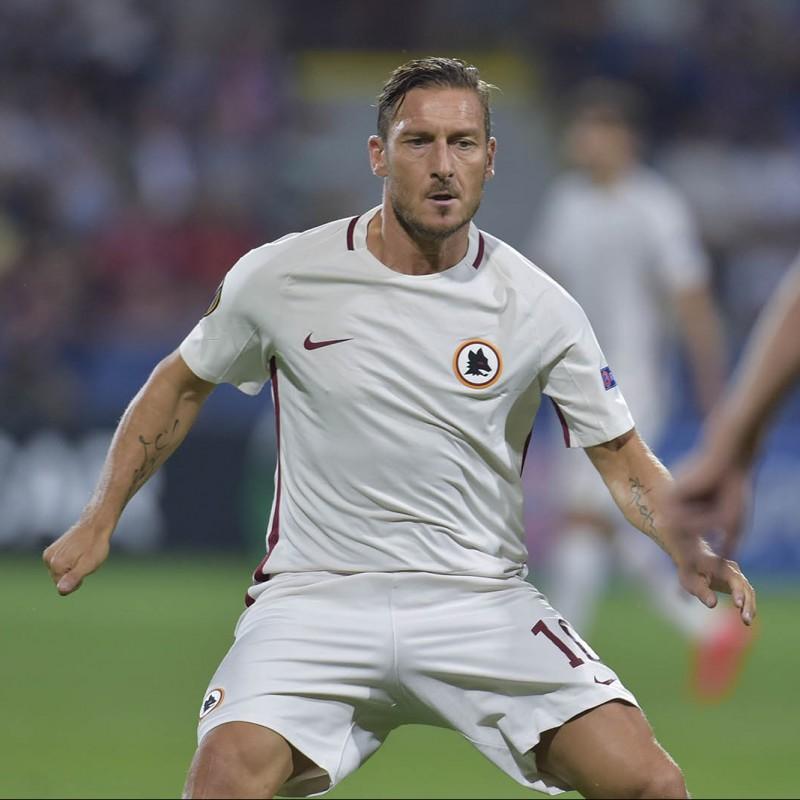 Totti's UNWASHED Match-Worn Shirt, Viktoria Plzen-Roma 2016/17