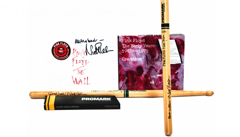 Signed Pink Floyd Drumsticks and Albums