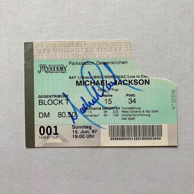 Michael Jackson Signed Concert Ticket, 1997