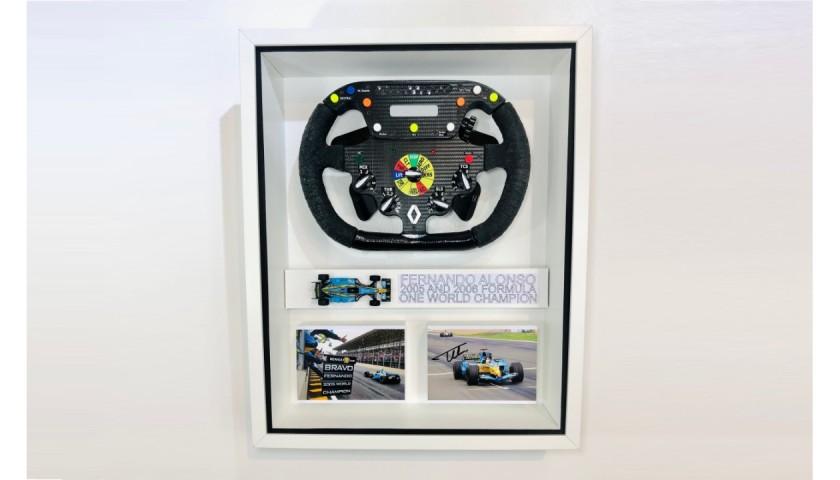 Fernando Alonso Signed Renault F1 Steering Wheel Display