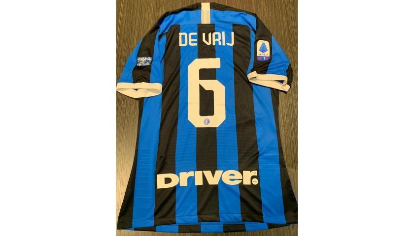 De Vrij's Match Shirt, Inter-Milan 2020 - Wuhan Patch - CharityStars