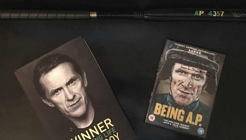 A P McCoy Signed Whip, Signed Book and DVD