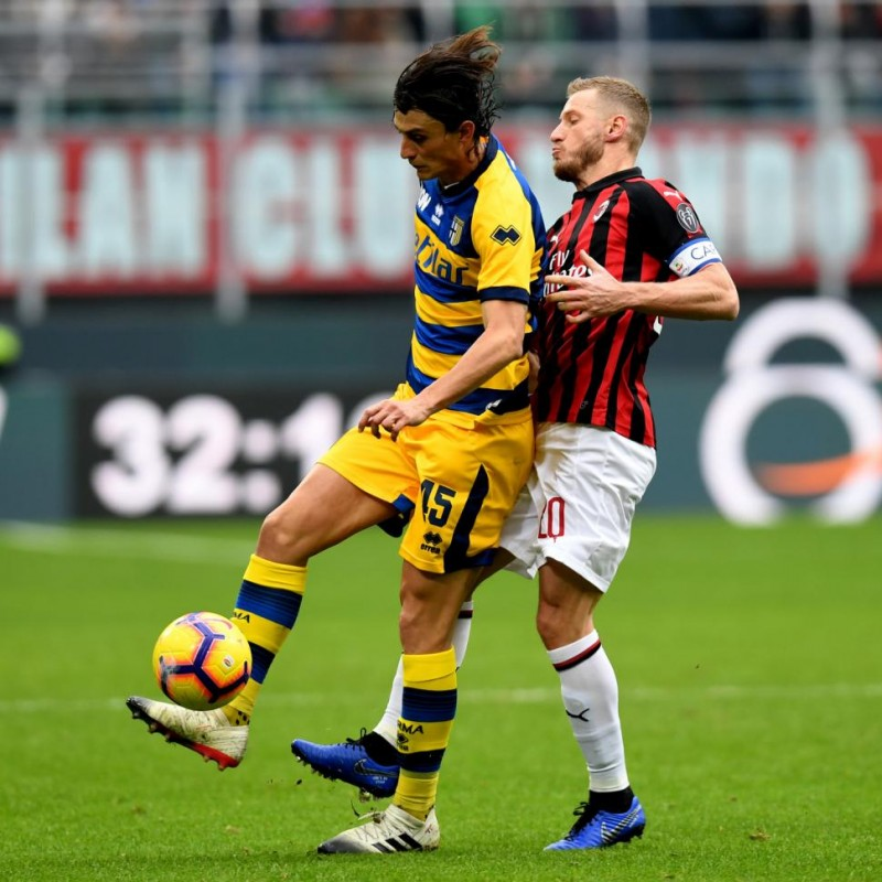 Abate's Worn Shirt with Special UNICEF Patch, AC Milan-Parma