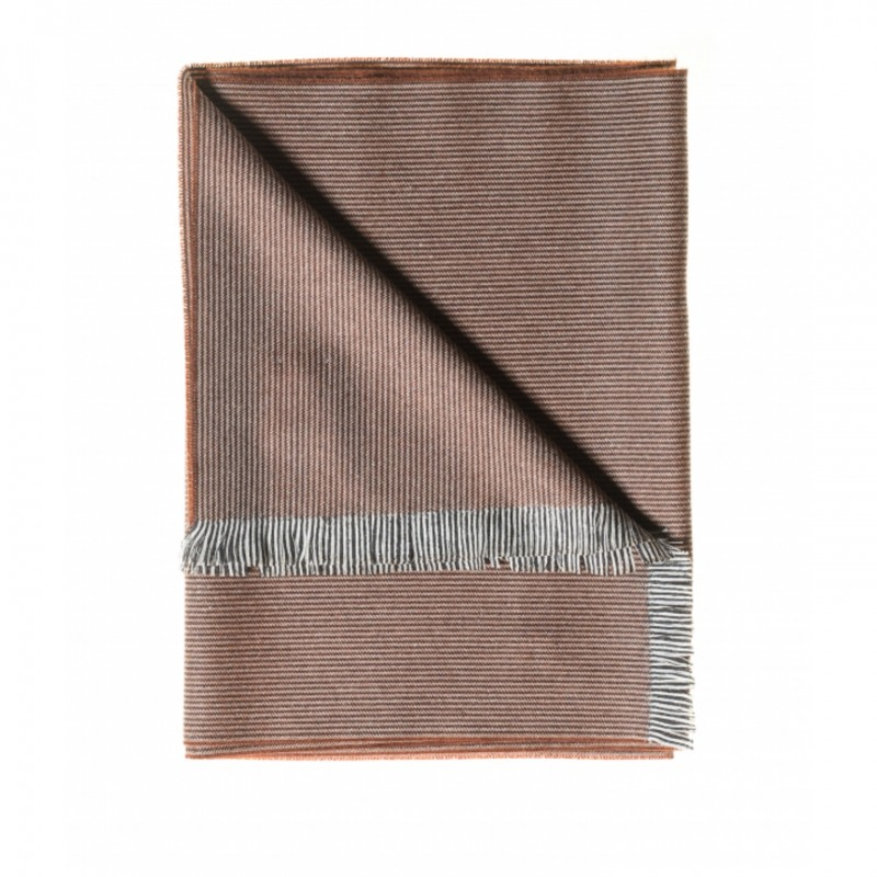 Cashmere and Wool Scarf with Brick Red and Grey Micro-Stripe Pattern