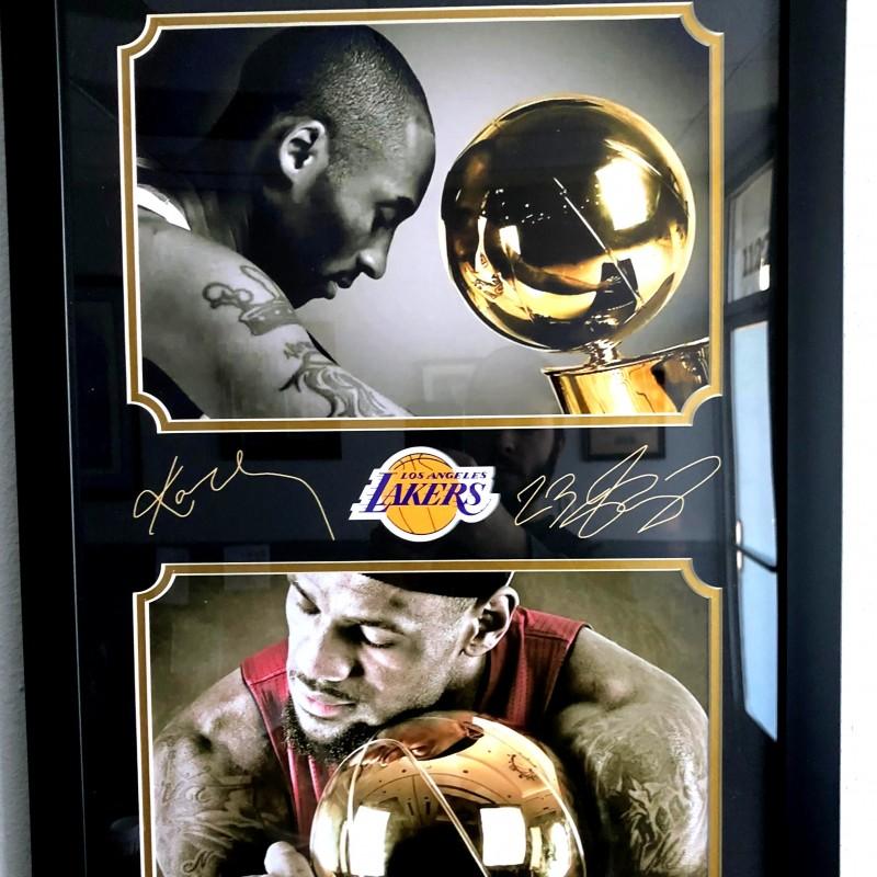 Kobe Bryant & Lebron James Framed Photo with Laser-Engraved Signatures