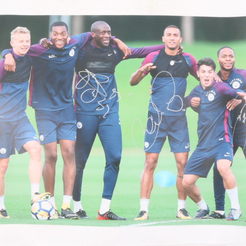 Manchester City Picture Signed by Toure, Danilo Silva and Sterling