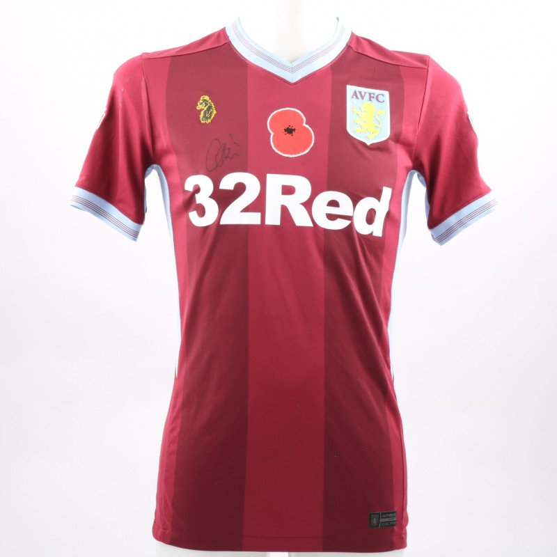 Neil Taylor's Worn and Signed Aston Villa Home Poppy Shirt