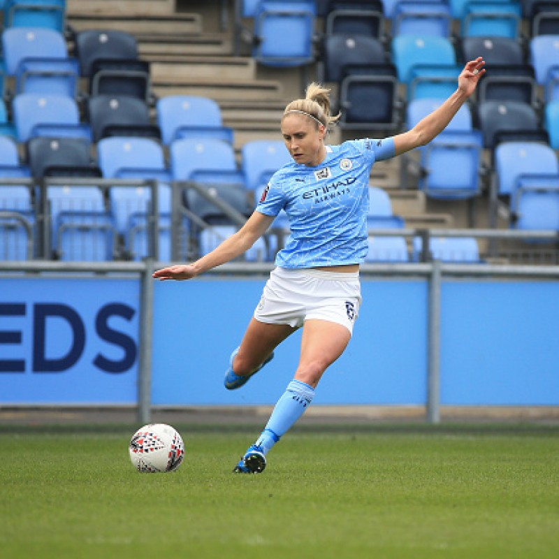 Official Manchester City 20/21 Women Home Shirt - Signed by Steph Houghton