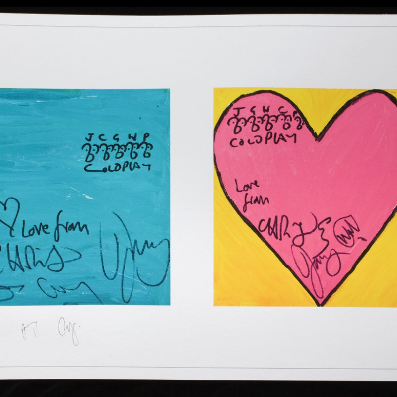 """Blue Square, Pink Heart""  Signed by Coldplay"