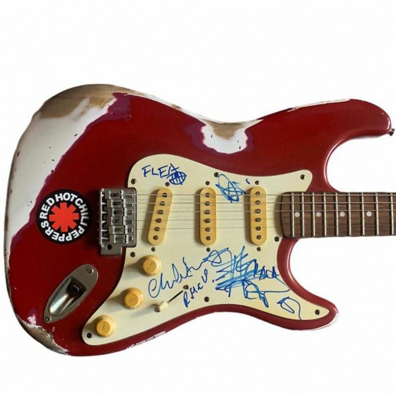 Red Hot Chili Peppers RHCP Signed Road Worn Electric Guitar