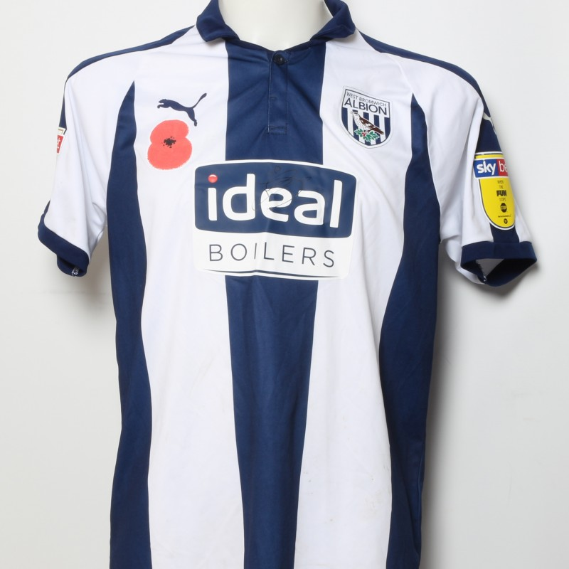 Matt Phillips' West Bromwich Albion  Worn and Signed Home Poppy Shirt