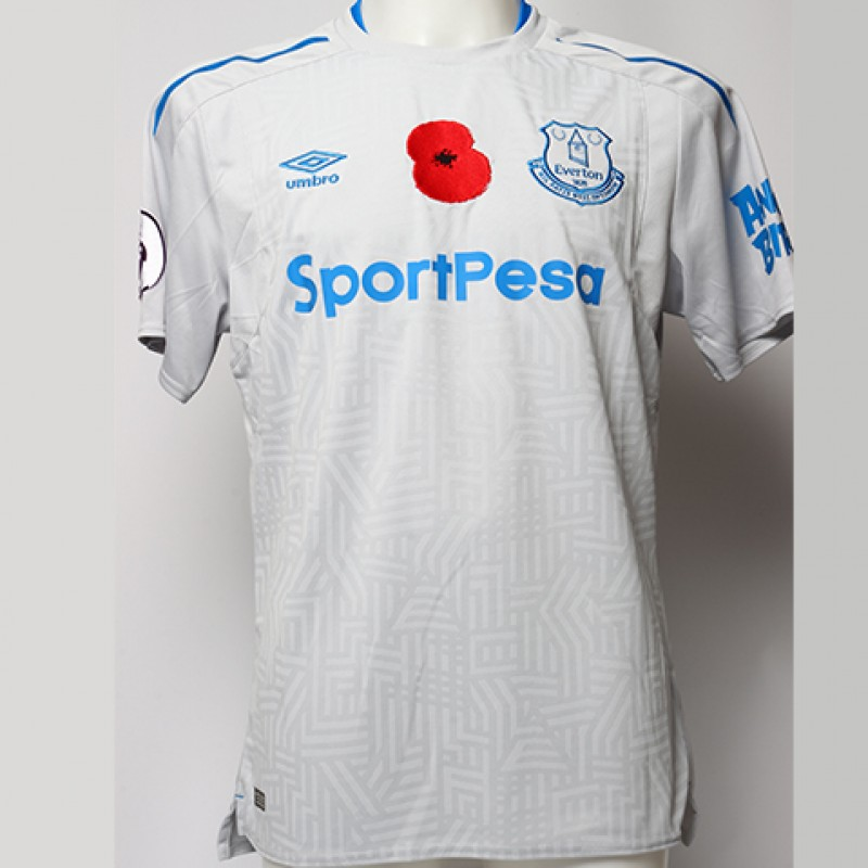 Worn Poppy Away Game Shirt Signed by Everton FC's Gylfi Sigurðsson