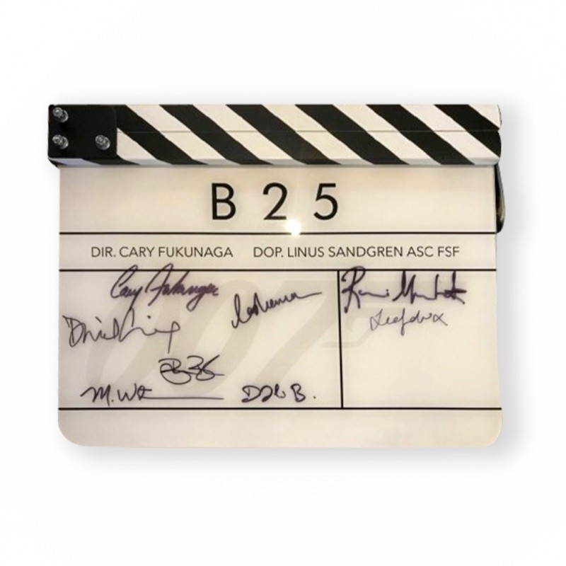 "Clapper Board Signed by ""No Time To Die"" James Bond Movie Cast"