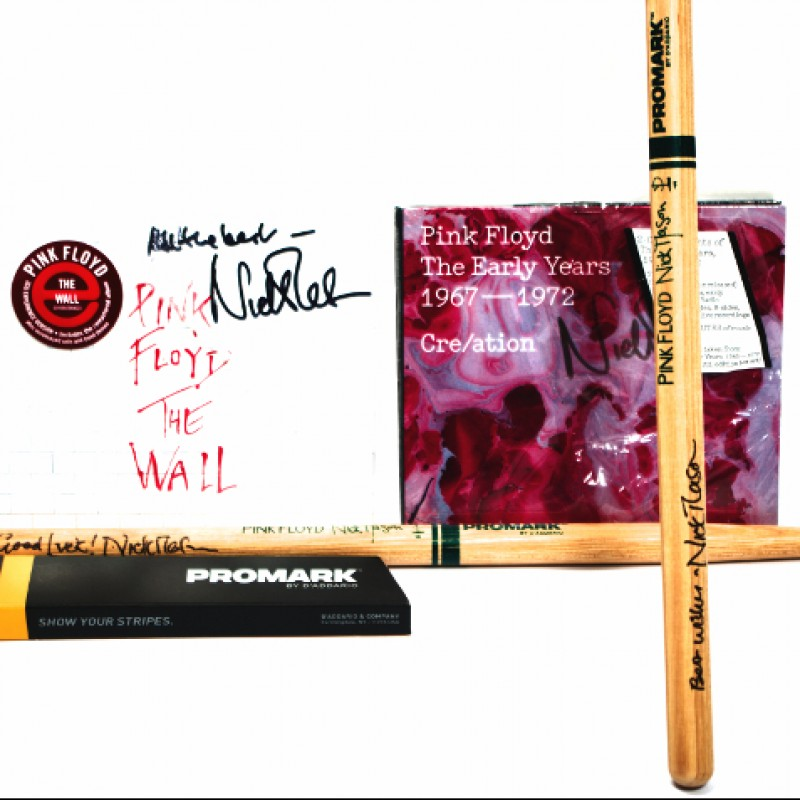 Signed Pink Floyd Drumsticks and Albums