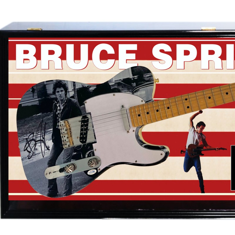 Bruce Springsteen Signed Guitar with Shadow Box Display