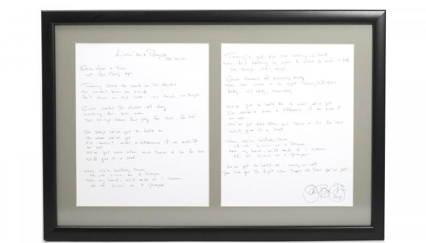 "Bon Jovi ""Livin' On A Prayer"" Handwritten Lyrics"