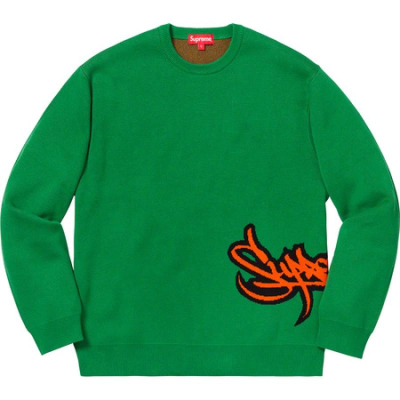 Supreme Tag Logo Sweater Green