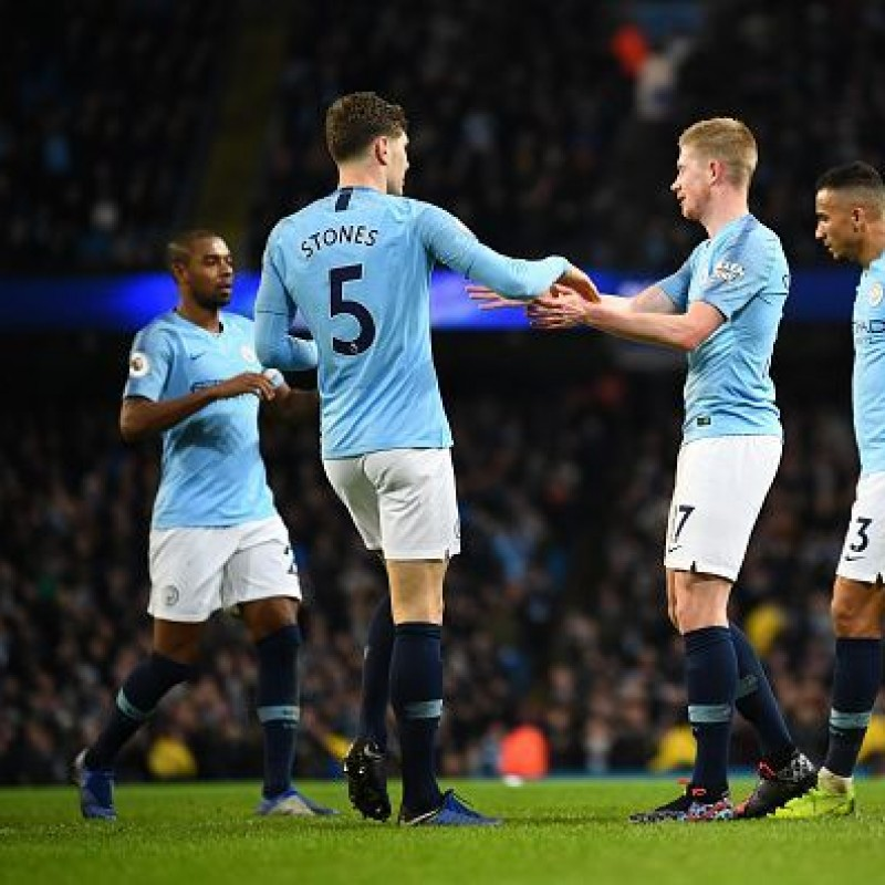 Stones' Manchester City Match White Shorts, Premier League 2018/19