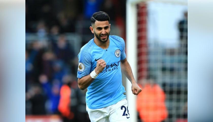 Mahrez' Manchester City Match White Shorts, Premier League 2018/19