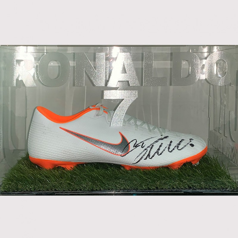 Cristiano Ronaldo Signed Boot in Juventus Acrylic Display Case
