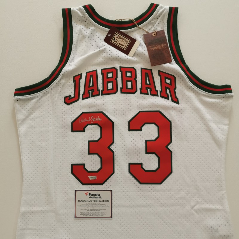 NBA M&N Milwaukee Bucks Shirt Signed by Kareem Abdul-Jabbar
