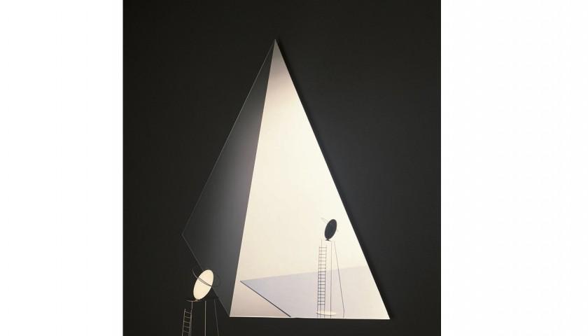 Aldo ballo specchio cosmos disegnato da nanda vigo per glas con scultura fausto melotti for Lots specchio