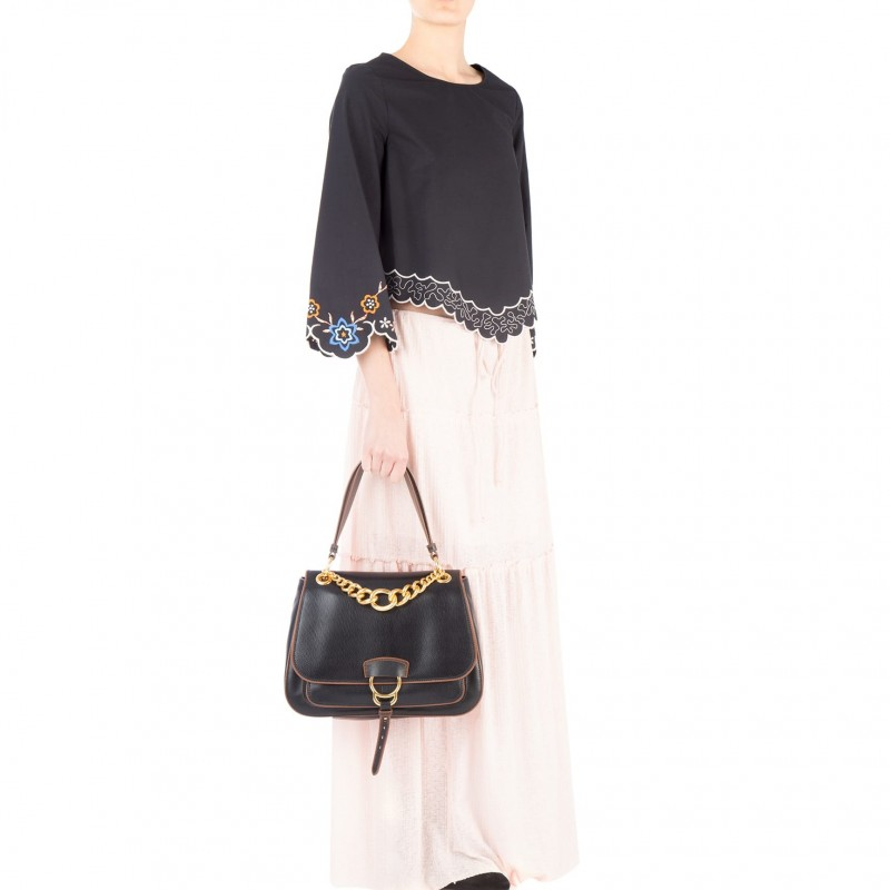 Miu Miu Black Leather Dahlia Shoulder Bag