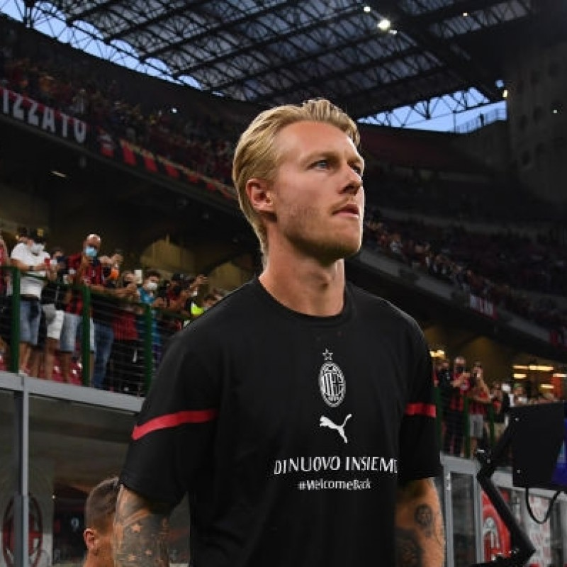Kjaer's Special Worn and Signed Warm-Up Shirt, AC Milan-Cagliari