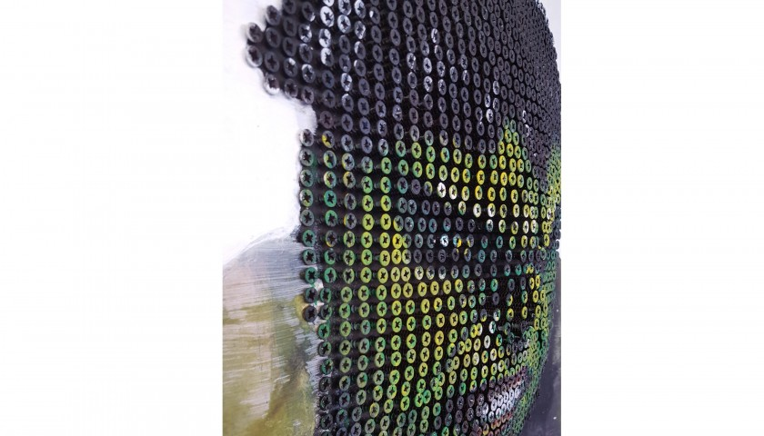 """Hulk"" - acrylic on 2000 self-tapping screws - Drill Monkeys Art Duo - 81x81x7 cm"