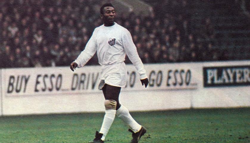 Pele's Signed Match-Issued/Worn Santos Shirt, 1971/72