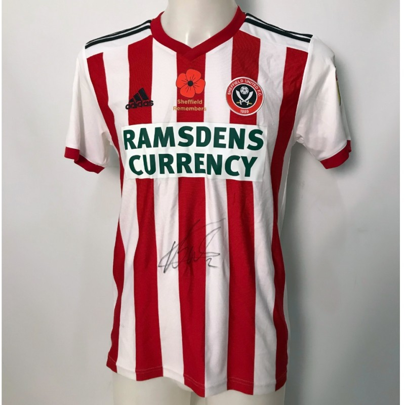 George Baldock's Sheffield United Worn and Signed Poppy Home Shirt